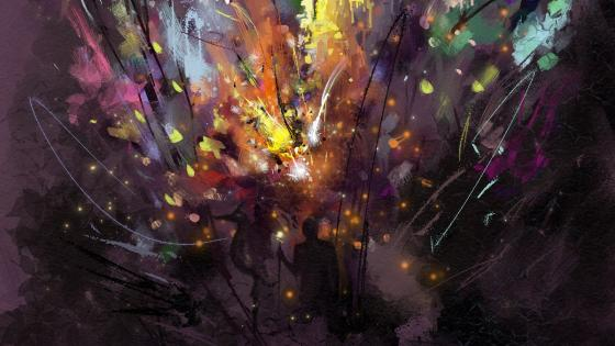 Colorful silhouette abstract artwork wallpaper