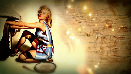 Vintage pin up girl wallpaper