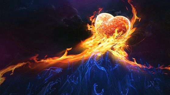 Hands stretched to the heart of fire wallpaper