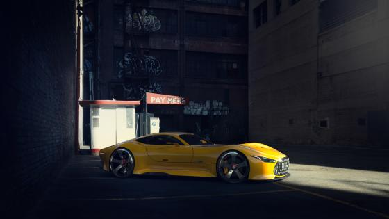 Yellow Mercedes-Benz AMG Vision Gran Turismo wallpaper