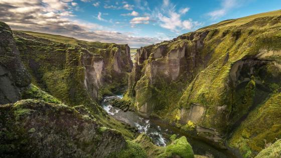 Fjadrargljufur Canyon at South Iceland wallpaper