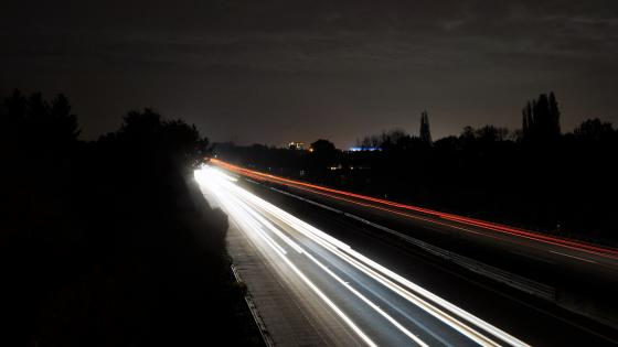 At night on the highway wallpaper