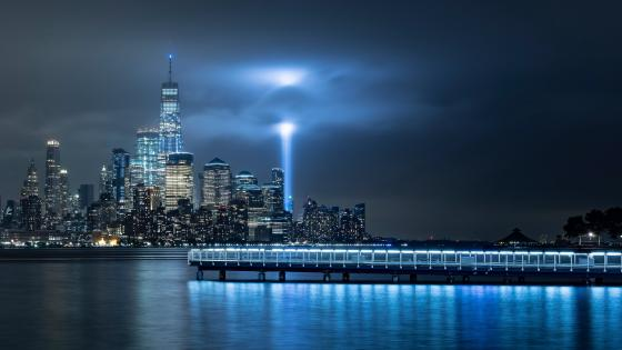 Manhattan skyline at night wallpaper