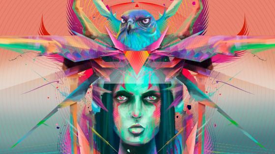Eagle girl illustration wallpaper