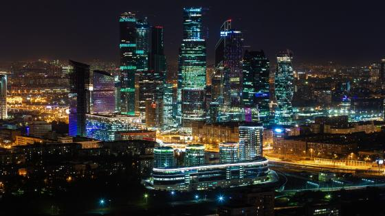 Moscow International Business Center at night wallpaper
