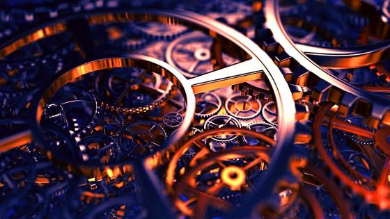 Clock mechanism wallpaper