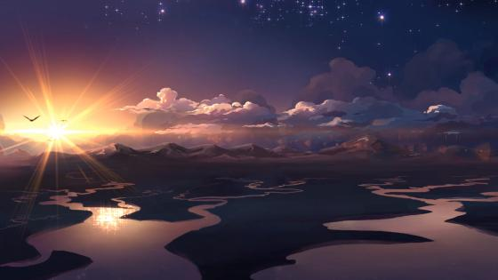 Sunset - Anime art wallpaper