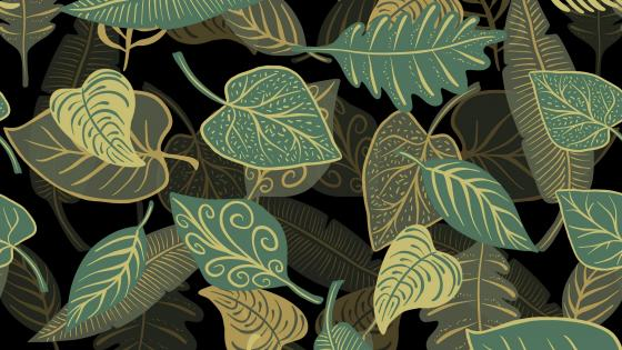 Green leaves pattern wallpaper
