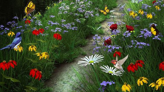 Flower garden with butterflies and little birds wallpaper