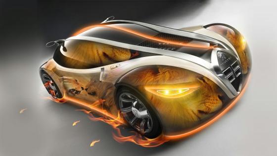 Fantastic Fire Lion Peugeot wallpaper