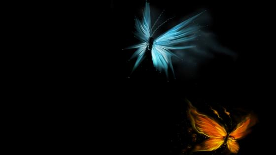 Glowing fire and ice butterflies wallpaper