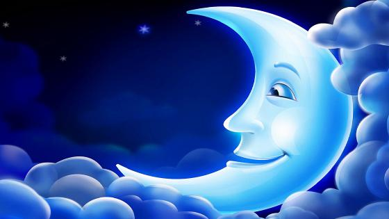 Smiling Moon - Fabled illustration wallpaper