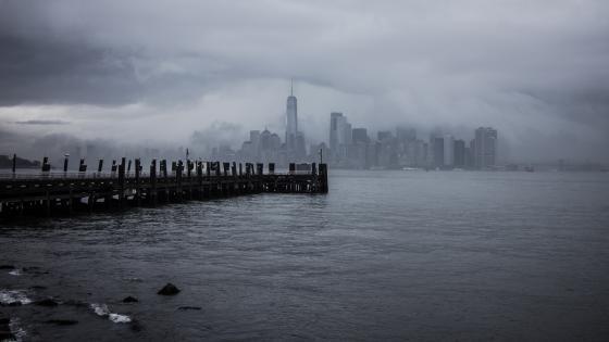 Cloudy Manhattan skyline wallpaper