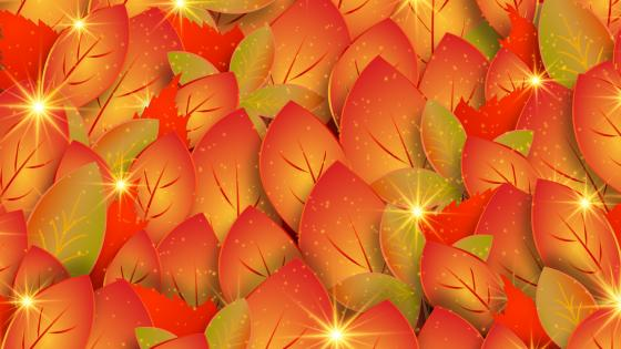 Shining autumn leaves pattern wallpaper