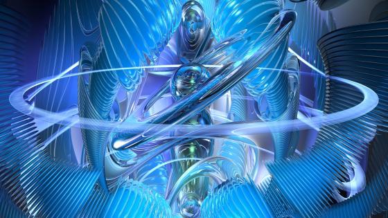 Blue fractal art wallpaper