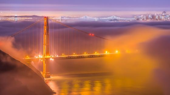Golden Gate Bridge between the clouds wallpaper