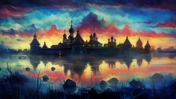 Russian monastery reflection painting art wallpaper