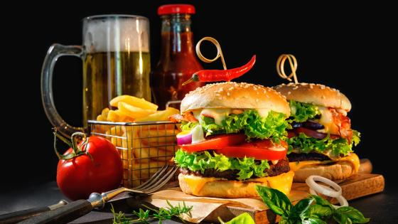 Hamburger with french fries and beer wallpaper