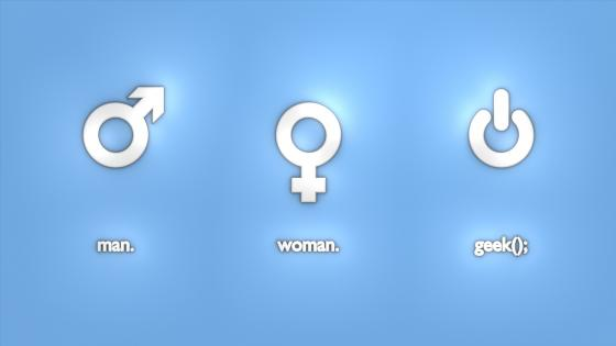 Man-woman-geek wallpaper
