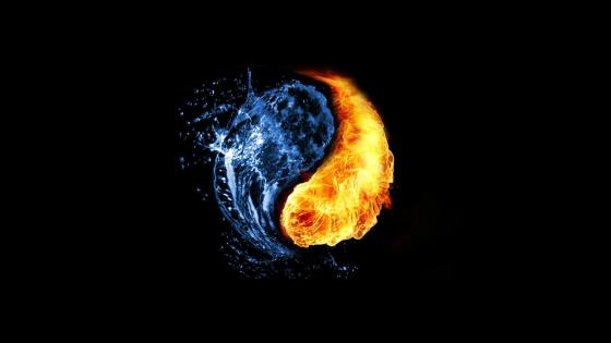 Water and Fire Yin Yang wallpaper