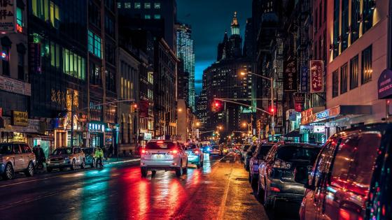 Chinatown at night (Manhattan) wallpaper