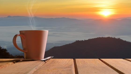 Morning coffee with panoramic view wallpaper