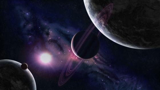 Ringed Planet - Purple Space Art wallpaper