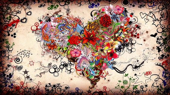 Heart flowers painting artwork wallpaper