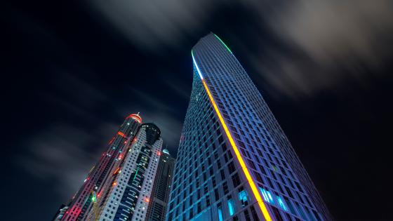 Ocean Heights Tower at night (Dubai) wallpaper