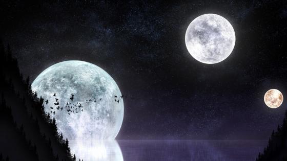Moon trio wallpaper