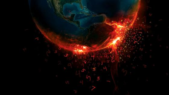 Burning Earth with numbers wallpaper