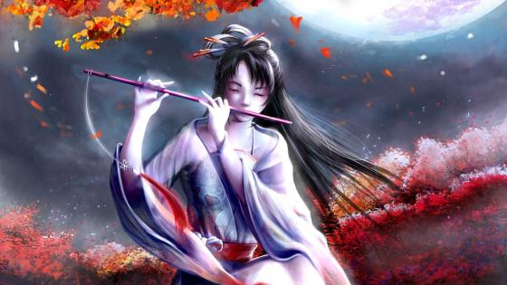 Girl playing a flute wallpaper