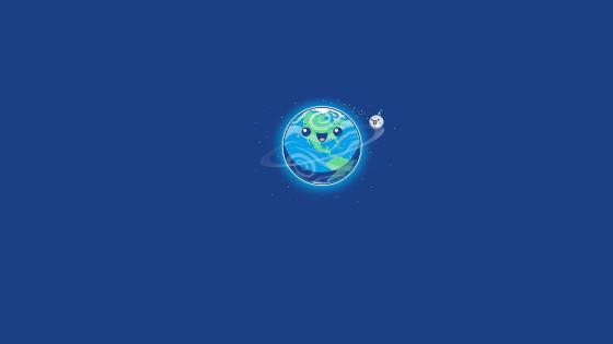 Happy Earth and Moon wallpaper