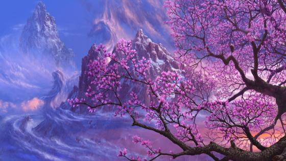 Magnolia tree in the icy mountains - Fantasy landscape wallpaper