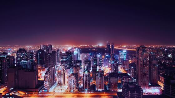 Purple cityscape of Dubai wallpaper