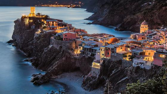 View from back side of Vernazza, Italy wallpaper