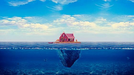 House on the ocean wallpaper