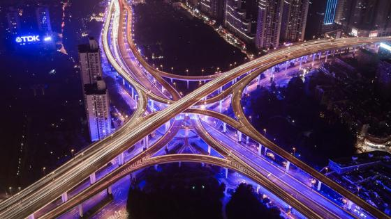 Shanghai Elevated Road Interchange at Night wallpaper
