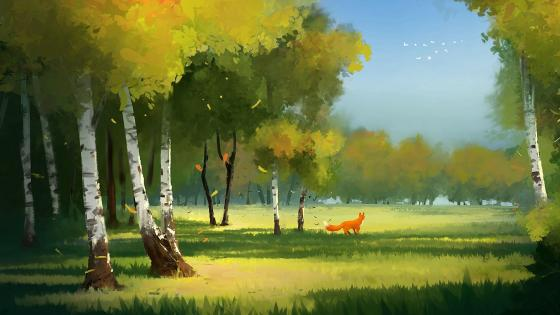 Fox in the meadow wallpaper