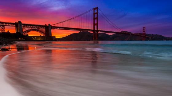 The San Francisco Bay and the Golden Gate Bridge wallpaper