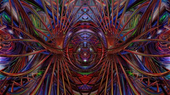 Multicolored psychedelic digital art wallpaper