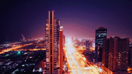 Purple night in Dubai wallpaper