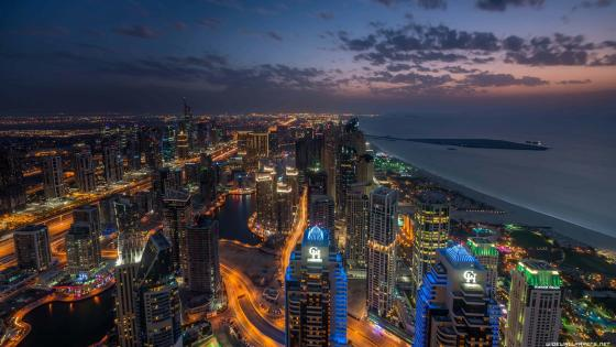 Dubai at night - Long Exposure Photography wallpaper