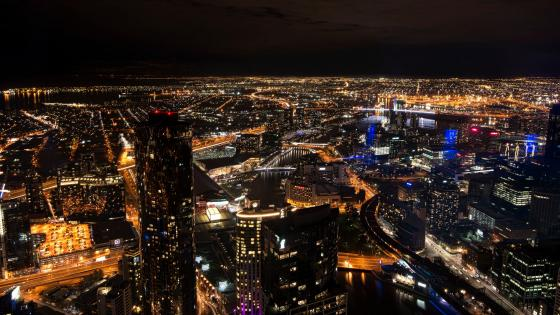 Melbourne, Australia at Night wallpaper