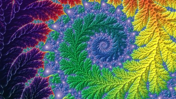 Multicolor fractal fern wallpaper