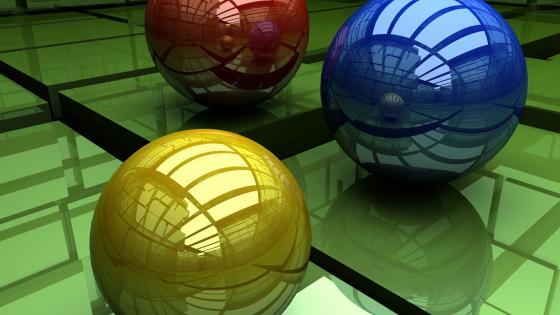 3D ball reflection wallpaper