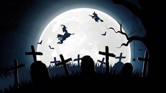 Halloween cemetery silhouette wallpaper