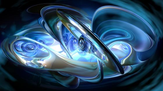 Blue ring fractal art wallpaper