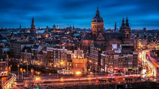 Amsterdam at night - Long Exposure Photography wallpaper