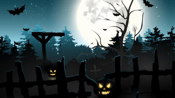 Cemetery with Jack-o'-Laterns wallpaper